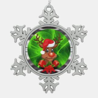 Reindeer decoration pewter snowflake ornament