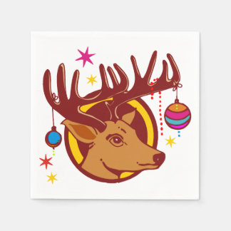 Reindeer / Deer / Christmas + your idea Disposable Napkin