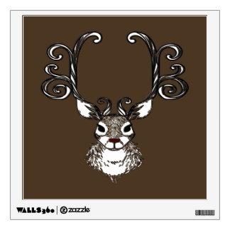 Reindeer deer metal art brown wall decal