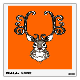 Reindeer deer metal art brown wall decal orange