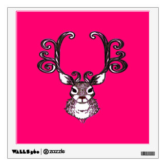 Reindeer deer metal art brown wall decal pink