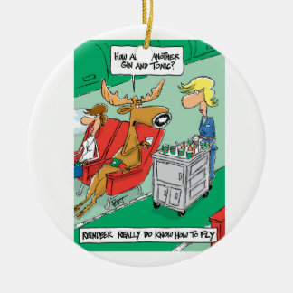 Reindeer DO know how to fly! Round Ceramic Ornament