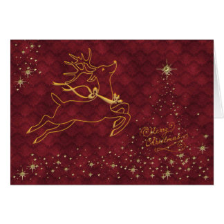 Reindeer Flying over Starry Christmas Tree Greeting Card