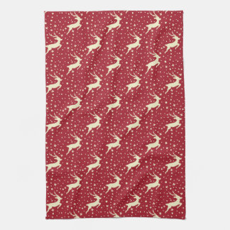 Reindeer Flying Through The Snow On Red Kitchen Towel