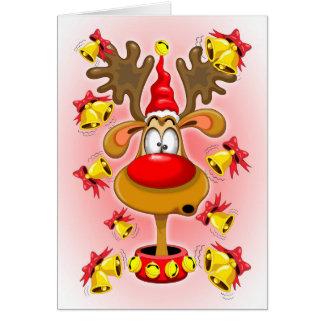 Reindeer Fun Christmas Cartoon with Bells Alarms Card