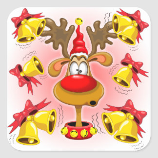 Reindeer Fun Christmas Cartoon with Bells Alarms Square Sticker