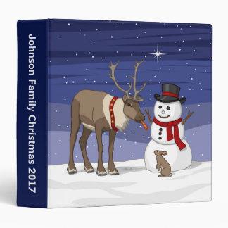 Reindeer Giving Rabbit Snowman Carrot Nose 3 Ring Binders