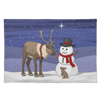 Reindeer Giving Rabbit Snowman Carrot Nose Placemat