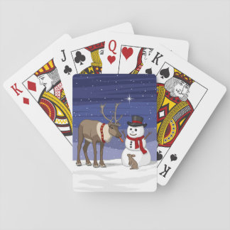 Reindeer Giving Rabbit Snowman Carrot Nose Playing Cards