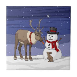 Reindeer Giving Rabbit Snowman Carrot Nose Tile