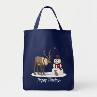 Reindeer Giving Rabbit Snowman Carrot Nose Tote Bag