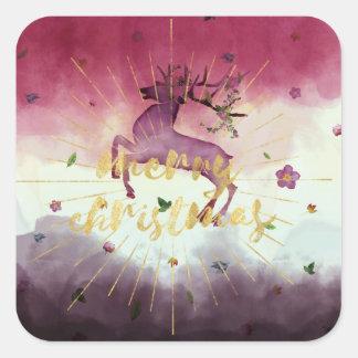 Reindeer Gold Merry Christmas Purple Sunburst Square Sticker