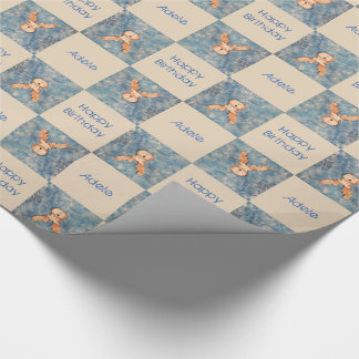 Reindeer Happy Birthday and personalised Name Wrapping Paper