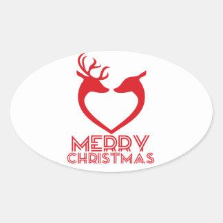 Reindeer Heart Oval Sticker