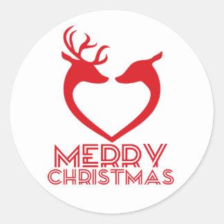 Reindeer Heart Round Sticker