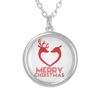 Reindeer Heart Silver Plated Necklace