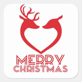 Reindeer Heart Square Sticker