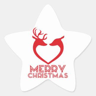 Reindeer Heart Star Sticker