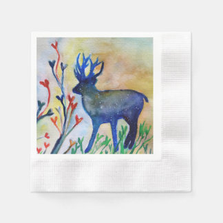 Reindeer Heart White Coined Cocktail Paper Napkins