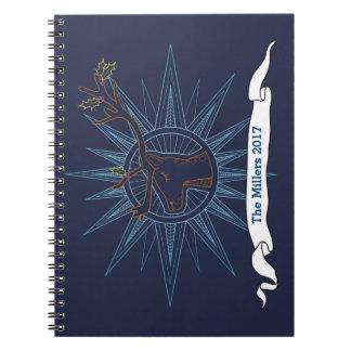 Reindeer Holiday Christmas Blue Art Illustration Notebook