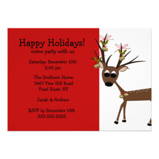 Reindeer Holiday Christmas Party Invitation