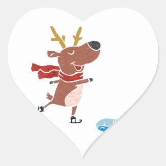 Reindeer ice skate heart sticker