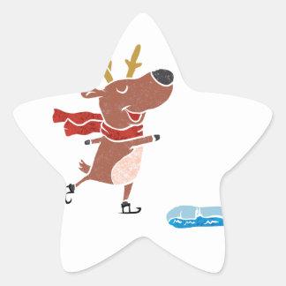 Reindeer ice skate star sticker