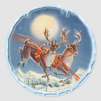 REINDEER & ICICLES by SHARON SHARPE Classic Round Sticker