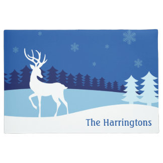 Reindeer Illustration custom name door mat