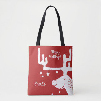 Reindeer illustration custom name & text bags
