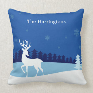 Reindeer Illustration custom name throw pillows