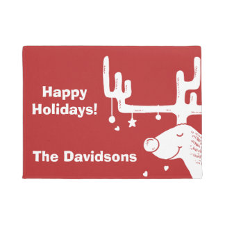 Reindeer illustration custom text door mat