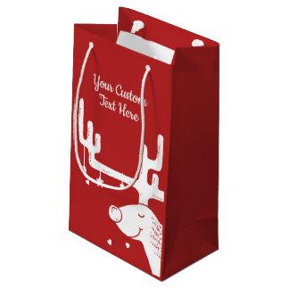Reindeer illustration custom text gift bag