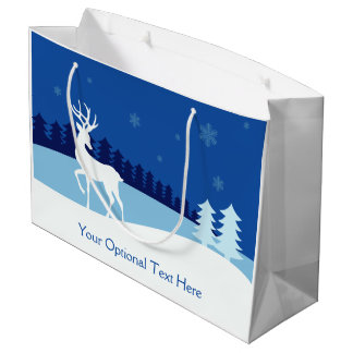 Reindeer illustration custom text large gift bag
