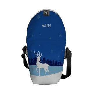 Reindeer illustration monogram messenger bag