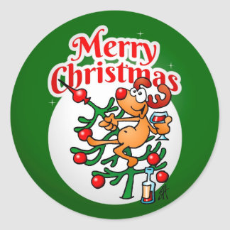 Reindeer in a Christmas tree Round Sticker