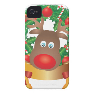 Reindeer in Christmas Wreath Illustration Case-Mate iPhone 4 Case