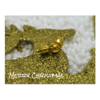 Reindeer in Gold Glitter Postcard