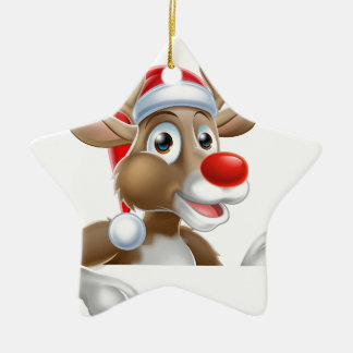 Reindeer in Santa Hat Pointing Down at Sign Ceramic Ornament