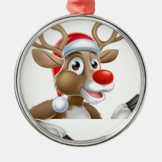 Reindeer in Santa Hat Pointing Down at Sign Metal Ornament