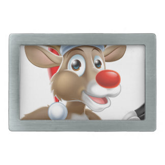 Reindeer in Santa Hat Pointing Down at Sign Rectangular Belt Buckle