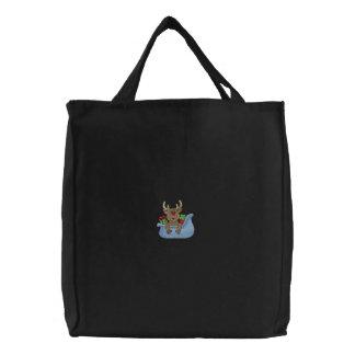 Reindeer In Sleigh Canvas Bags