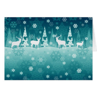 Reindeer in Snow Christmas Card