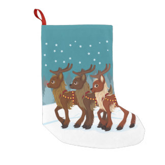 Reindeer in the Snow Small Christmas Stocking
