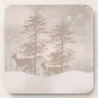 Reindeer In The Woodland Snow Scenery Coaster