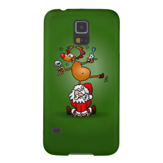 Reindeer is having a drink on Santa Claus Galaxy S5 Case
