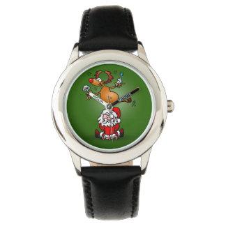 Reindeer is having a drink on Santa Claus Wristwatch