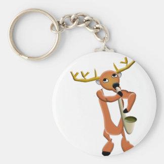 Reindeer Jazz Basic Round Button Keychain