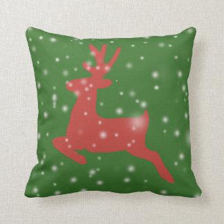 Reindeer Jump Siluette Snow Cushion 41 cm x 41 cm