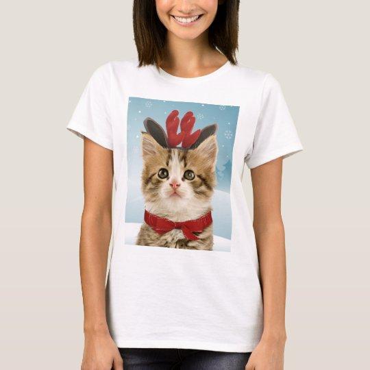 Reindeer Kitten Christmas T-Shirt